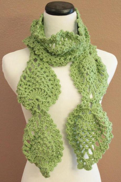 Womens Chunky Scarf Crochet Lace Pineapple Motif Lime Green
