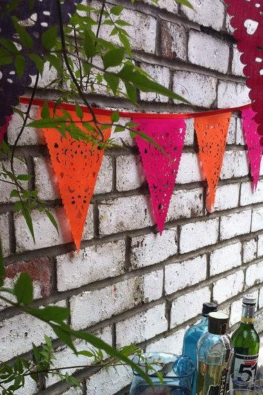 Pink and orange Party Bunting, pink and orange lace party banner, pink orange garland