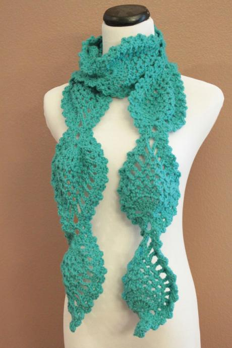 Turquoise Crochet Scarf Women's Chunky Lace Pineapple Motif Scarf