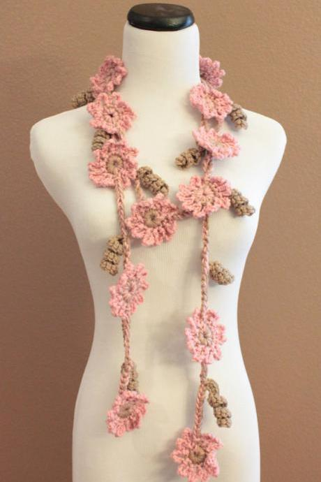 Crochet Flower Scarf Lariat Women's Fashion Pink and Brown Flowers