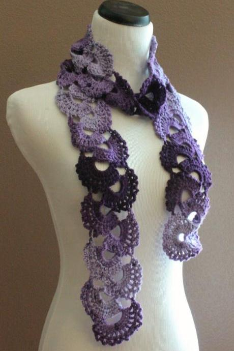Womens Crochet Scarf Queen Annes Lace Ombre Varigated Multicolor Purple