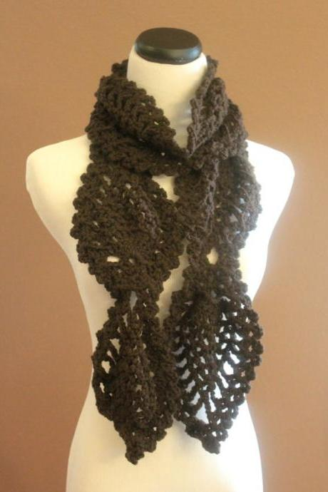 Womens Crochet Scarf Espresso Brown Chunky Lace Pineapple Motif