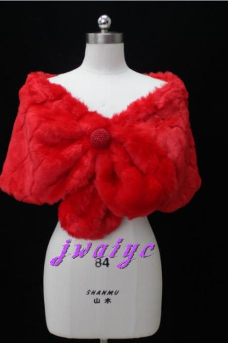Classic red faux fur shawl bride wedding bride cape shrug short jacket