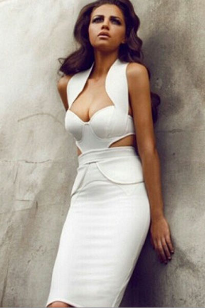 Sexy White Body Con Midi Dress