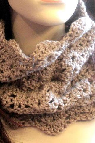 Crochet Cowl Chunky Infinity Scarf Lace Tan
