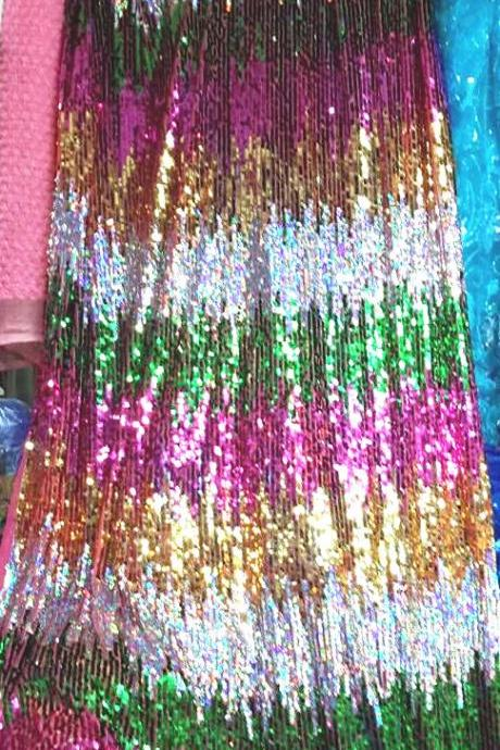Sparkling Multi-color Metallic Embroidery Sequin Lace Fabric For Women Dress 48 Inch Width Sold At Yard In Gold+Silver+Green+Fuchsia