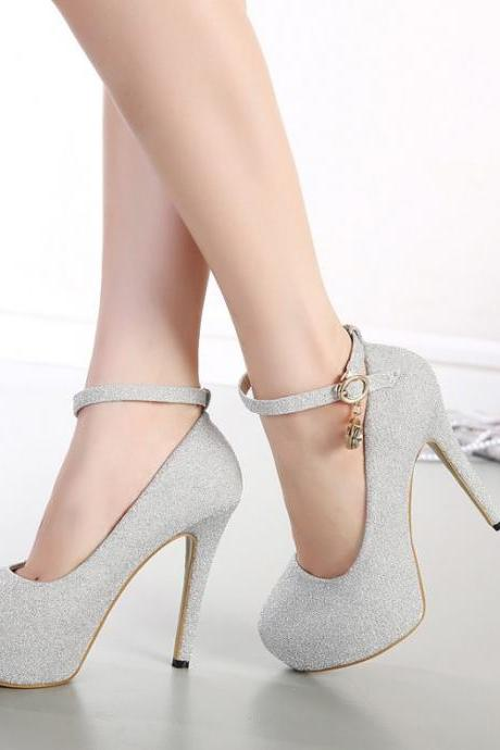 Women's High Heel Thin Heel Pure Color Band Sweet Daily Pumps