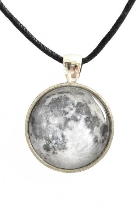 Moon necklace pendant with glass cabochon