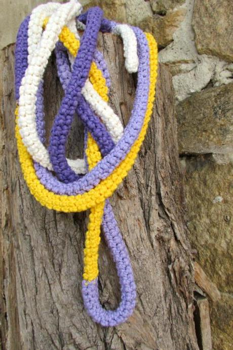 Crochet skinny scarf - extra long necklace - bright autumn colors - Cream, purple, lilac and yellow