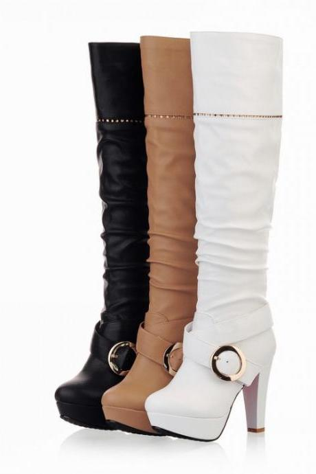 Women's Pure Color High Heel Thick Heel Artificial Wool Ring Long Knight Boots