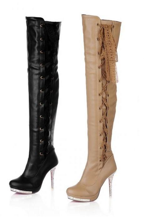 Over-The-Knee Leather Boots with Criss-Cross Lace-Ups - Black / Apricot