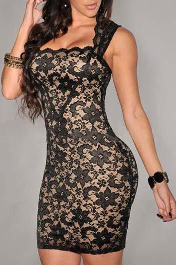Black Sexy Slim Fit Lace Dress