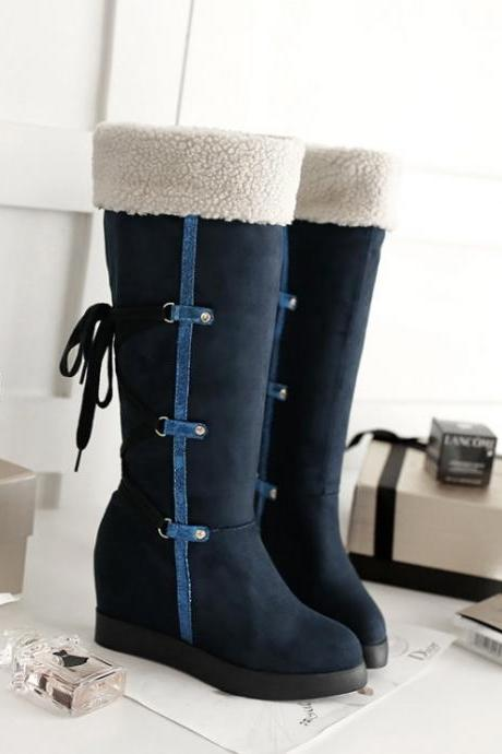 Women's Pure Color Wedge Heel Pure Wool With Side Zippers Long Boots