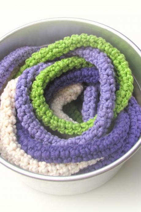 Crochet skinny scarf - knitted jewelry - extra long necklace - bright autumn colors - Cream, purple, lilac and lime green