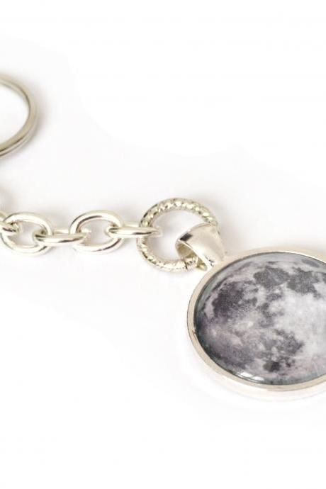 Unisex Moon keychain with glass cabochon