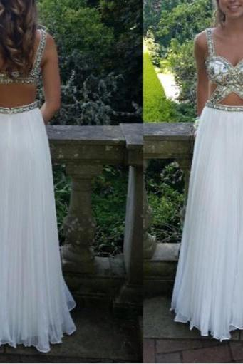 High Quality White Long Prom Dress,A-Line Prom Dress,Chiffon Prom Dress,Beading Prom Dress,Evening Dresses