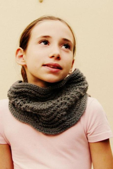 Knitted accessories cowl unisex - Merino wool - Deep grey - kids and adults