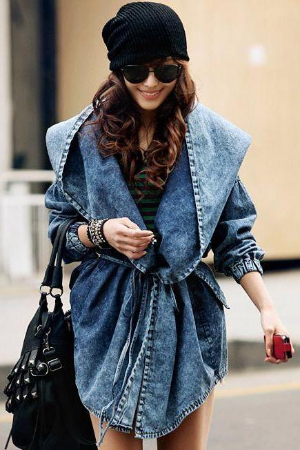 2015 Hot sale Chic Hooded Double Pockets Denim Jacket