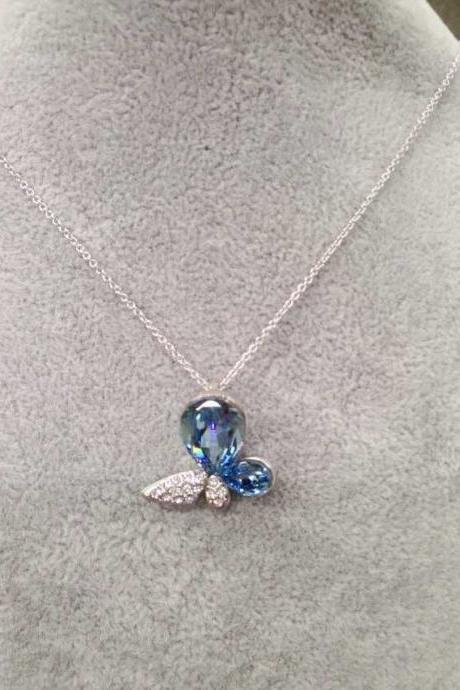 Chic Silver Women Pendant Necklace With Blue Stones Fashion Jewelry
