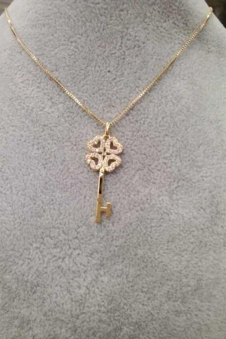 Gold Four Leaf Clover Key Pendant Necklace Jewelry