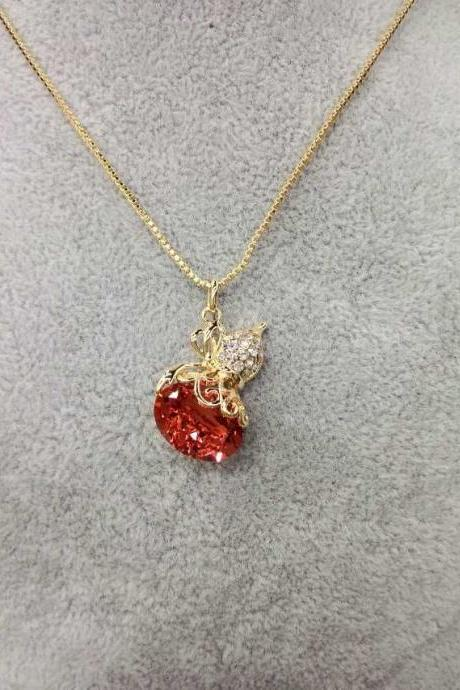 Gorgeous Alloy Gold Pendant Necklace With Red Stones Fashion Jewelry