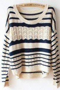 Fashion Long Sleeve Loose Hollow Striped Women's Sweater