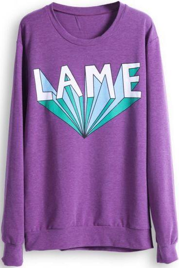 Tumblr 'Lame' Crewneck Purple Sweatshirt