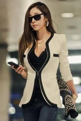 Black And White Long Sleeve Slim Blazer Outwear Jackets Black White