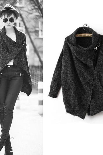 Knitted Casual Cardigan Sweater In Black