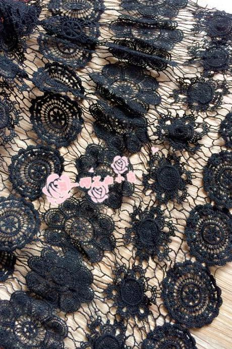 Guipure Lace Black Cord Lace Fabric For Women Dress 47/48 Inch Width Sold At Yard