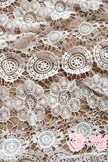 Guipure Lace White Cord Lace Fabric 47/48 Inch Width Sold At Yard