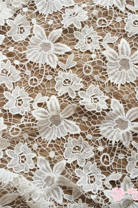 Flower Pattern Guipure Lace White Cord Lace Fabric For Women Clothing 47/48 Inch Width Sold At Yard