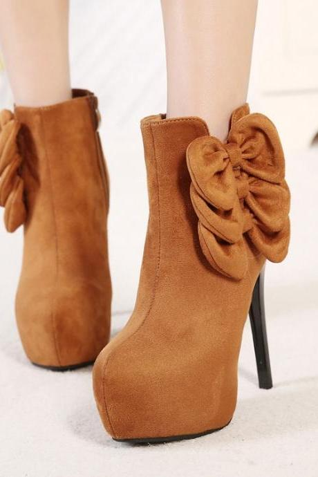Women's Pure Color High Heel Suede Thin Heel With Side Zippers Short Flower Boots