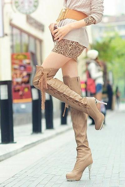 Women's Pure Color High Heel Thin Heel Suede Crossed Lace Long Martin Boots