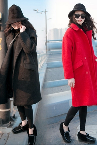 High Quality Slim Button Woolen Coats For Lady (2 Colors)