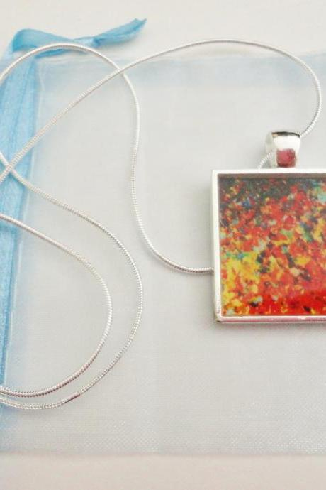 END of the RAINBOW Resin Necklace, MADE TO ORDER, OOAK Abstract Acrylic Painting High Quality Handmade Art Jewelry Pendant Silver Plated Xmas Gift For Her