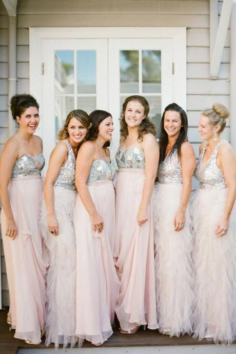 long bridesmaid dress, sparkle bridesmaid dress, pink bridesmaid dress, mismatched bridesmaid dress, cheap bridesmaid dress, 141001