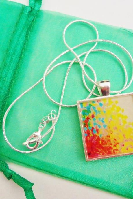 CREATION in COLOUR Resin Necklace, OOAK Abstract Acrylic Painting Image High Quality Handmade Art Jewelry Pendant Silver Plated Gift for Her
