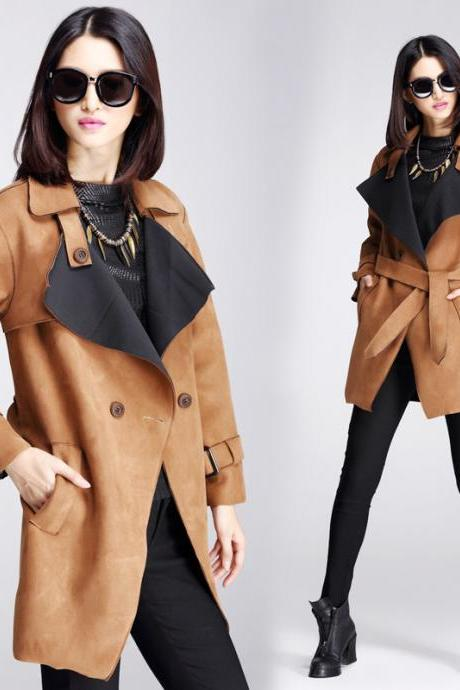 Fashion Dark Khaki Trench Coat For Women Double Breasted Turn Down Collar Ladies Jacket