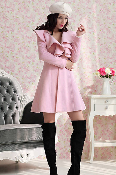 2015 Beautiful Pink Ruffled Long Coat