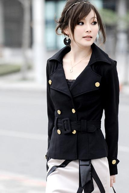 2015 Beautiful Double Breasted Black Cotton Spring Coat
