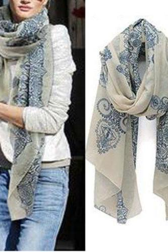 Women Fashion Long Print Cotton Scarf Wrap Ladies Shawl Girls Large Silk Scarves