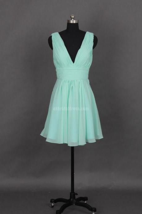 short bridesmaid dress, cheap bridesmaid dress, chiffon bridesmaid dress, bridesmaid dress for girls, tiffany blue bridesmaid dress, 141006