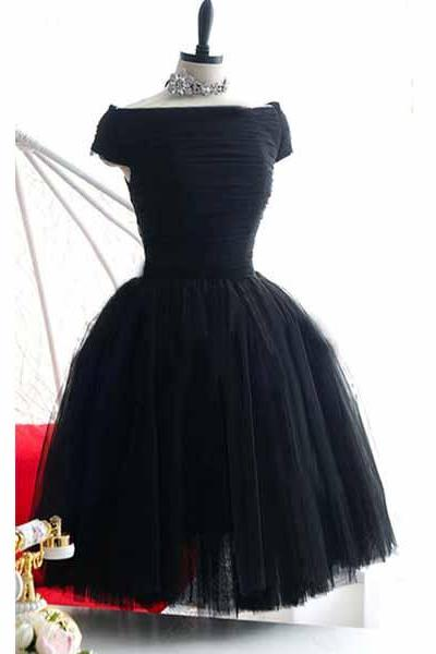 little black dress, homecoming dress, short prom dress, tulle prom dress, black prom dress, cheap homecoming dress, 141012