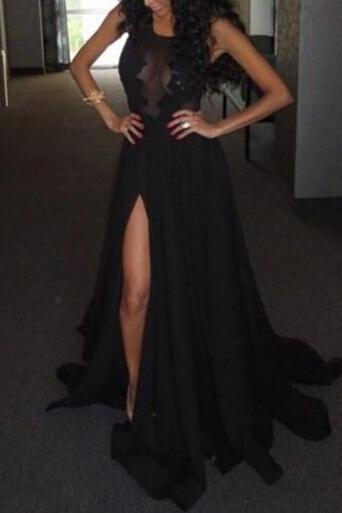 Sexy Black Split Long Formal Dress with Lace Applique, Black Long Prom Dresses, Sexy Formal Dresses