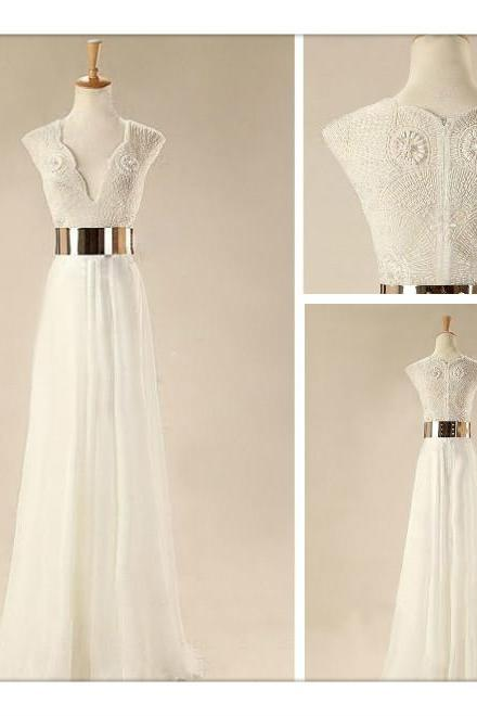 Custom Made White Floor Length Prom Dresses, Wedding Dresses, Dresses For Prom, Evening Dresses