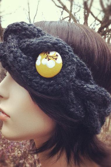 Chunky Braided Cable Headband Earwarmer with Covered Button - Charcoal - MADE TO ORDER