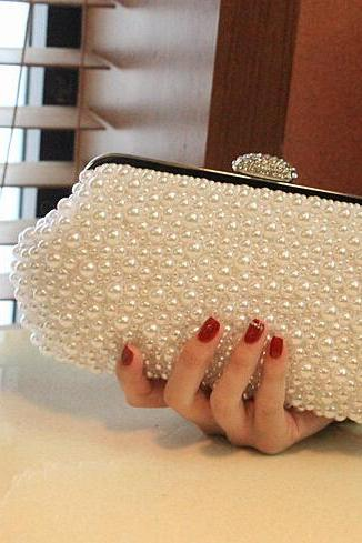 Women Pearls Beige Evening Bag Imitation Pearls Beads Clutch bag with Chain Purse, Fashion Bag,Wedding Party Prom Bag