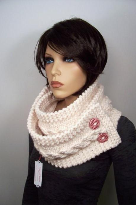 Infinity Scarf Cowl with Ceramic Buttons - Ivory - SUPER SALE DISCONTINUED