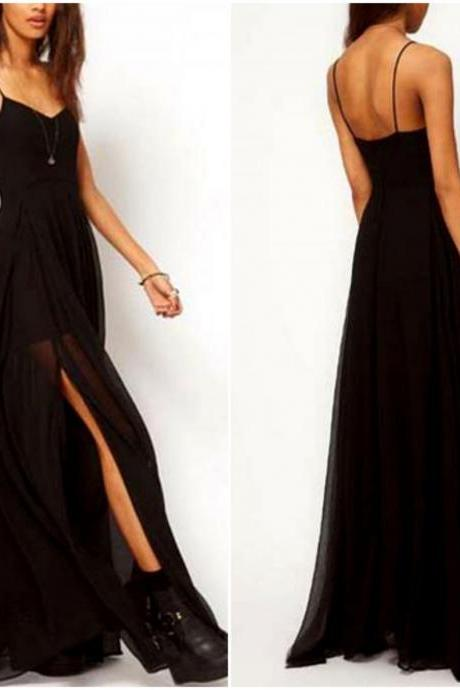 Black Sexy Spaghetti Strap Black Side Slit Maxi Dress
